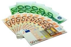 Euro pieniędzy banknoty - fan 50 i 100 euro rachunków Obrazy Stock
