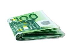 Euro pieniędzy banknoty - sterta 100 euro rachunków Obrazy Royalty Free