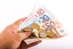 Euro pieniądze banknoty i monety Zdjęcia Royalty Free