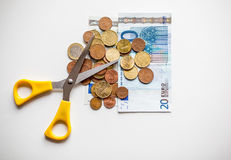 Euro pieniędzy cięcia budżetowe Zdjęcia Stock