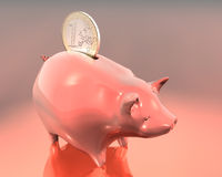 Euro and Piggy Bank. 3d Illustration of piggy bank and one euro on warm background stock illustration