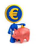 Euro Piggy Bank Account. Cartoon Coin-Man putting money in piggy bank Royalty Free Stock Photos