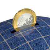 Euro in Piggy Bank with Solar Power Royalty Free Stock Photos