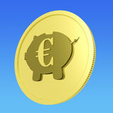 Euro Piggy Coin Shows European Banking Status Royalty Free Stock Photo