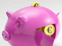 Euro In Piggy Shows Currency And Investment Stock Images