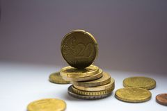 Euro pila delle monete fotografia stock libera da diritti