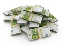 Euro pile on white background. 100 Euro money lots forming a pile on white background stock illustration