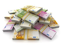 Euro pile  on white background. Euro money lots forming a pile  on white background Stock Images