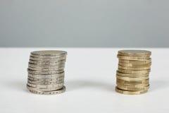 Euro piles de pièces de monnaie Photo libre de droits