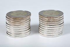 Euro piles de pièces de monnaie Photos libres de droits