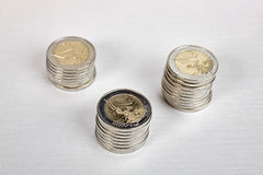 Euro piles de pièces de monnaie Image stock