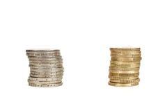 Euro piles de pièces de monnaie Photos stock