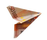 Euro plane. Business concept. money plane on white background Stock Image