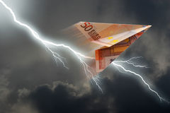 Euro plane. Business concept. euro plane and  thunderstorm Stock Images