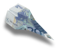 Euro Plane. An origami airplane made with twenty euros Stock Photo
