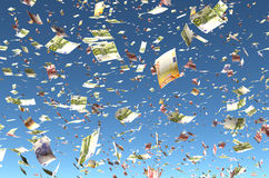 Euro pluie de billet de banque Photos libres de droits