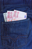 Euro in pocket Stock Image