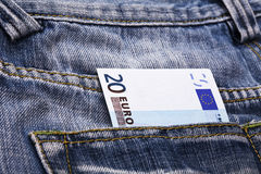 Euro in pocket Stock Photos