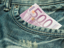 500 euro  in the pocket of jeans... Stock Photo