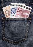 Euro Pocket Money In Blue Jeans. Pocket Money In Blue Jeans - Ten, Twenty And Fifty Euro Note royalty free stock photos