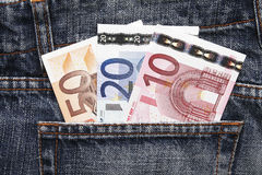 Euro Pocket Money In Blue Jeans. Pocket Money In Blue Jeans - Three Notes, Ten, Twenty and Fifty Euro stock photo
