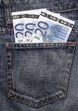 Euro Pocket Money In Blue Jeans. Pocket Money In Blue Jeans - Three Twenty Euro Notes stock photo