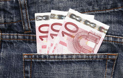 Euro Pocket Money In Blue Jeans. Pocket Money In Blue Jeans - Three Ten Euro Notes royalty free stock photo
