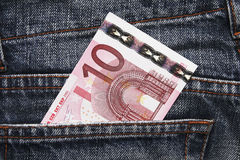 Euro Pocket Money In Blue Jeans. Pocket Money In Blue Jeans - Ten Euro Note royalty free stock photos