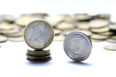 Euro and polish currency Stock Photos