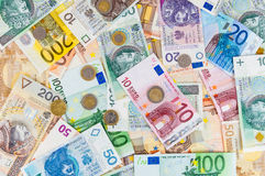 Euro and polish zloty background Stock Image
