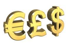 Euro, pond, dollarsymbool Royalty-vrije Stock Afbeelding
