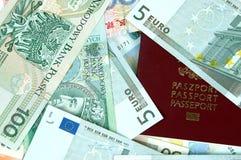 Euro, Poolse Zlotych, geld RMB Royalty-vrije Stock Afbeeldingen