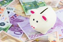 euro porcin de côté Photo stock