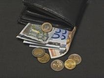 Euro portefeuille (1) royalty-vrije stock afbeelding