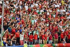 Euro portoghese 2016 dei tifosi del Portogallo immagine stock libera da diritti