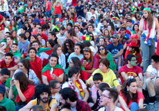 Euro 2016 Portuguese fans. UEFA Euro 2016 Final between France and Portugal with thousands of Portuguese fans watching the match on big screens in Portugal at royalty free stock images
