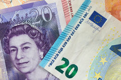 Euro and pound currency notes Stock Photo