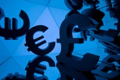 Euro and Pound Currency Symbol With Many Mirroring Images. Of Itself on Blue Background stock image