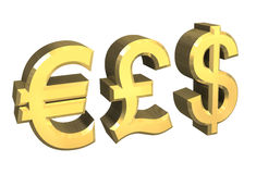 Euro, pound, dollar symbol. In gold (3D Royalty Free Stock Image
