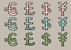 Euro Pound Dollar and Yen Signs as Currency Symbols. Vector illustration of special characters for euro, pound, dollar and yen. Set of cartoon currency signs in Stock Image