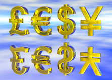 Euro Pound Dollar and Yen Symbols in Gold. With Reflection Stock Image