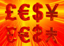 Euro Pound Dollar and Yen Symbols in Gold Stock Images