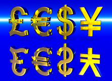 Euro Pound Dollar and Yen Symbols in Gold. With Reflection Stock Photography