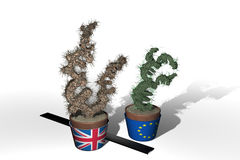 Euro and pound trees Stock Photography