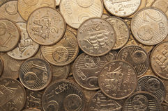 Euro prägt Hintergrund Lizenzfreie Stockfotos