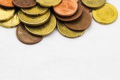 Euro prägt Hintergrundrahmen Stockfotos
