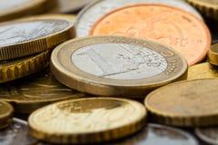 Euro prägt Nahaufnahme Lizenzfreie Stockbilder