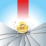Euro Pressure Test. Vector illustration of Euro gold coin smashed to the cracked ground with red arrow Royalty Free Stock Photo