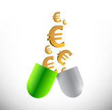 Euro prices and medicine concept illustration Royalty Free Stock Photo