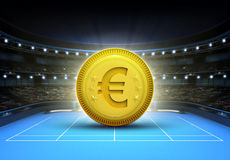 Euro prize money placed on a blue tennis court Stock Images
